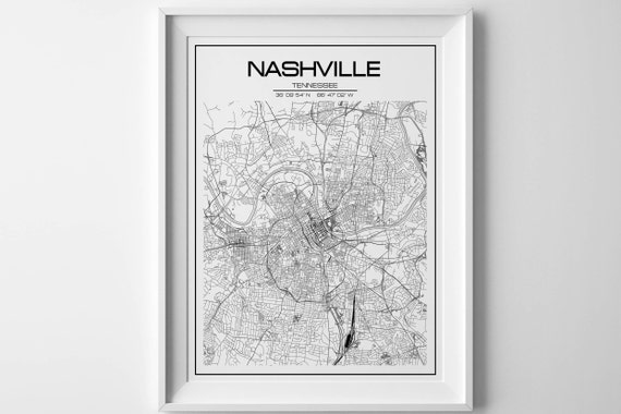 Nashville Map Print Tennessee Poster United States Map - Us map nashville