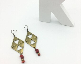 Earrings red and bronze diamonds