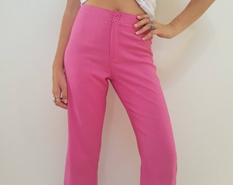90s Pink Pants // Vintage Cropped Flare Capris // Womens Size 10