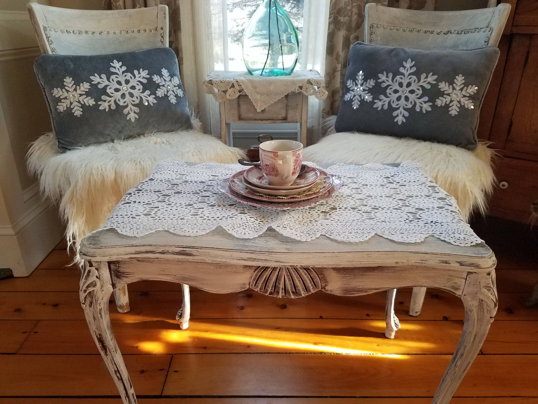 White Crocheted Table Runner or Doily 15 x 35