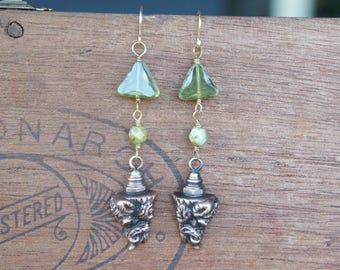Boar's Head Earrings with Earthy Green Glass Beads French Brass French Findings Stampings
