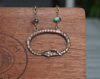 Ouroboros Snake Tail Eater Circle Snake Necklace French Brass Stamping