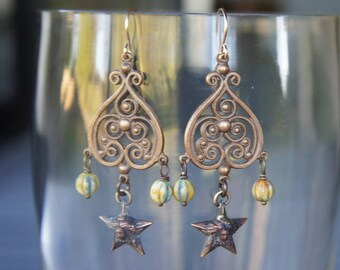 Filigree Chandelier Earrings with Art Nouveau Goddess of the Night Star Drop and Czech Glass Beads French Brass Antique Vintage Style
