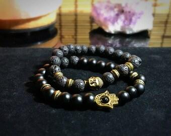 Pair (2)of Gemstone Bead Bracelets Lava Rock & Onyx Gold Hamsa Buddah Head