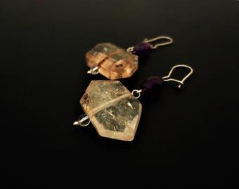 Rock Crystal Earrings. Amethyst Earrings. Clear Earrings Purple Earrings. Gemstone Beaded Earrings. Contemporary Boho Summer Earrings. Greek