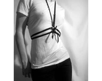 Harness bust women black satin ribbons