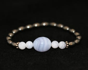 No. 10 Blue Lace Agate, Hematite and Sterling Silver Bracelet (Handmade)