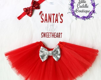 Christmas Baby Outfit, Holiday Outfit, Christmas Outfit, First Christmas Outfit, Christmas Bodysuit, Santa's Little Sweetheart, Christmas