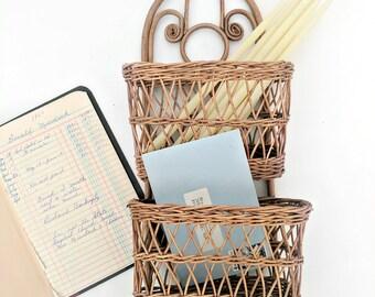 vintage wicker wall pocket basket | wicker  wall hanging letter holder | two tier basket | boho home decor