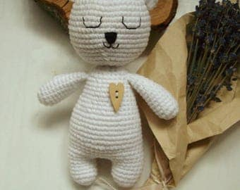 Crochet toy Bear Baby rattle Crochet animal Crochet bear Rattles Stuffed animal Baby toy Newborn toy Baby Shower Gift White bear Toys
