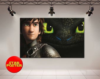 Toothless, Hiccup canvas, Night Fury canvas, How to Train Your Dragon, Toothless canvas, Vikings canvas, Movie canvas, Toothless wall art