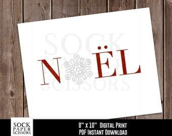 Printable Print, Noel Printable, Christmas Decor, Snowflake Print, Christmas Wall Art, Holiday Decor, PDF Digital Download, SKU-RHO136