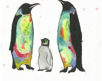 8 X 10 Penguin Family Print | Wildlife Original Art | Kids Room Wall Decor | Nursery Decor | Baby Room Art | Rainbow Animal Art