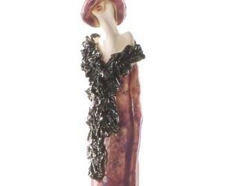Elegant Lady with a Metallic Shawl & Purple Hat | Large Ceramic Sculpture | Fabulous Room Decor
