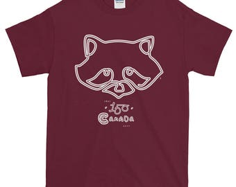 150th Year Canadiana Racoon Icons T-Shirt | Canada150 | Illustration Art Gift Tee