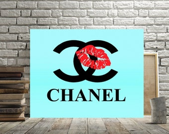 Chanel, Print or Canvas, Chanel Logo Art, Chanel Blue Decor, Red Lips Poster, Coco Chanel Pop Art Picture, Aqua, Teal, Chanel Lipstick Print