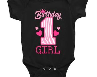 1st Birthday Baby Outfit - 1st Birthday Shirt- Girls Zebra Birthday Outfit -  First Birthday shirt 1 - Pink and Black Zebra Birthday Girl SD