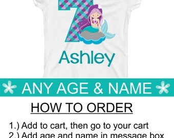 Mermaid Birthday Shirt - Mermaid Birthday Party - Mermaid Birthday 1 2 3 4 5 6 7 8 9 10 - Girls Personalized Birthday Shirt