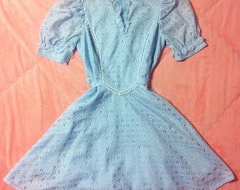 1960s Vintage Pastel Blue Eyelet Lace Dress / Pastel Blue Vintage Dolly Dress
