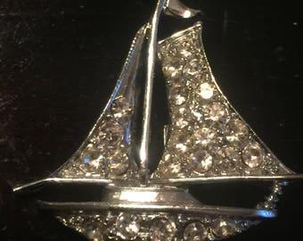 Vintage sailboat Rhinestone Brooch Pin