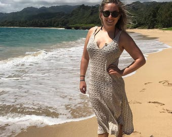 Crochet Knee Length Swimsuit Cover-up Dress