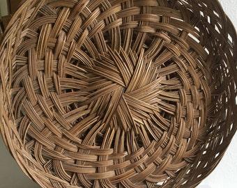 vintage wicker footed plate basket
