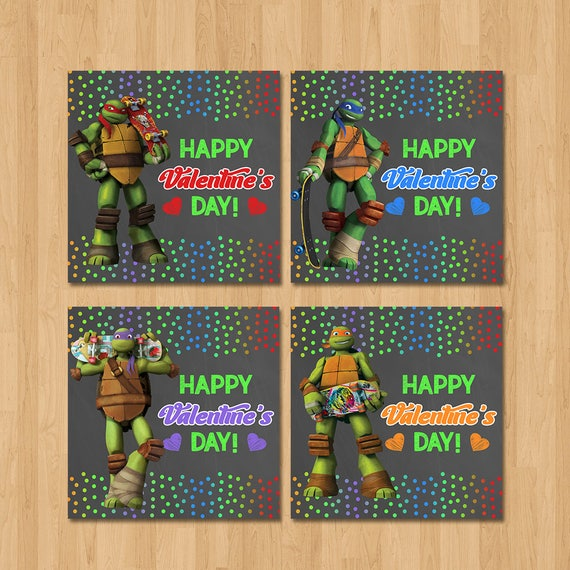 Teenage Mutant Ninja Turtles Valentine's Day Cards - Chalkboard - Ninja Turtles Valentine's Day Cards - TMNT School Valentine Cards