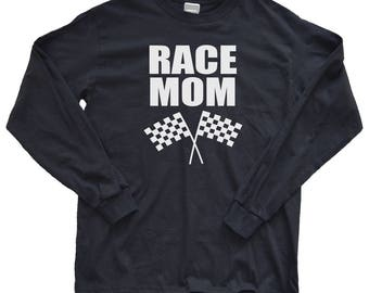 Racing Shirt - Long Sleeve Race Mom Shirt - Racing Mom Shirt - Race Day Shirt - Proud Racing Mom - Motocross Mom - BMX - Checkered Flag