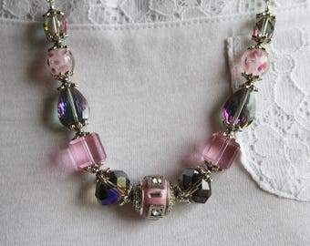 Pink Necklace, Pink Jewelry, Boho Necklace, Statement Necklace, Beaded Necklace, Chain Necklace, Chunky Necklace, Gemstone Necklace