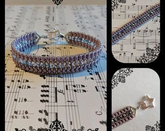 SuperDuo and bicone bracelet * Superduo bracelet, Bicones, Seed beads, Toggle clasp, Star, Purple, Violet, Silver *