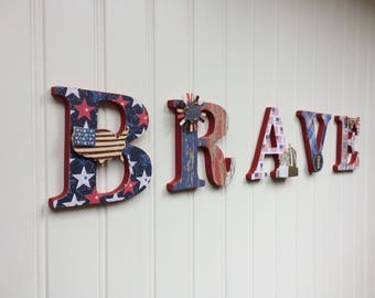 """BRAVE 3.5"""" Patriotic Chipboard Letters with Embellishments"""