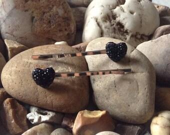 Beautiful Handmade Black Heart Dotted Rhinestone 12mm Hair Bobby Grips Pins