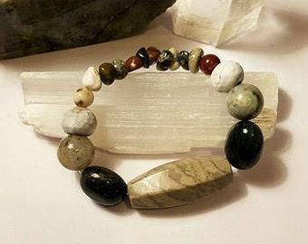 Jasper & Agate Crystal Stretch Bracelet medium