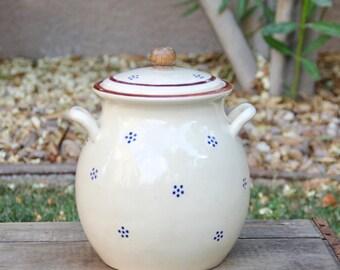 Vintage Cookie Jar - Vintage Canister - Vintage Crock - Cookies Canister - Cookie Jar - Teak Cookie Jar - Blue Dot Cookie Jar - Cookie Can