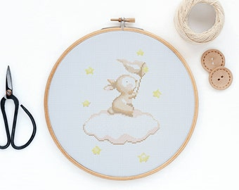 Bunny catching stars- Modern baby cross stitch pattern PDF - Instant download