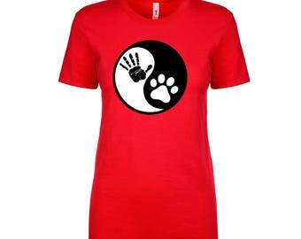 Ying And Yang Puppy Hand Ladies Tee