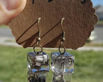Industrial Jewelry- Nuts and Bolts Series- Cubed Earrings- Mixed Metals-Unique Gift- Heavy Metal Jewelry- Edgy Jewelry- Hardware Jewelry