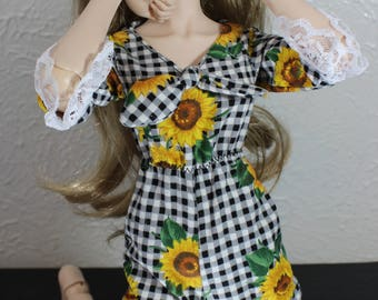 Black and white gingham romper (BJD small bust)