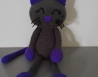 Cat 'Mistigrette' 37 cm tall crochet purple grey
