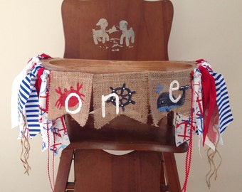 Red White & Blue Nautical First Birthday High Chair Banner/Summer Sea Crab Sailor Anchor Whale/Cake Smash/Photo Shoot Prop/Party Decor