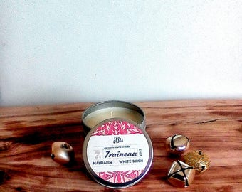 TRAÎNEAU // Mandarin & White Birch Soy Candle // 6oz. Candle Travel Tin // Hand Poured // Christmas Gift // All Natural Candle // Luxury