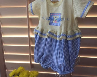 Vintage Baby Embroidered Kaboom  Gingham Checked Romper