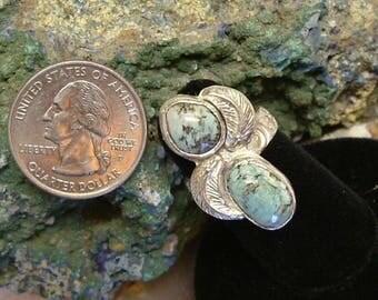 Natural Utah Gem Turquoise (ooak), Fine Sterling Silver Size 6 Ring 206B