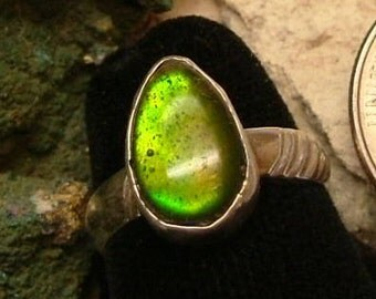 Ammolite Ring (OOAK) Sterling Silver Size 8 OOAK Bright Yellow to Deep Green and Orange Tear Drop Gem from Utah Deposit   228B