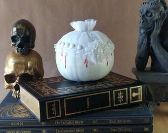 White Victorian Gothic Pumpkin Halloween Decoration, Fall & Autumn Decor, Halloween Party, Fall Wedding