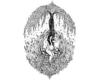 Tarot Deck Card Print - Empress - Black & White Fertility Goddess Illustration - Maternity Pregnancy Expecting New Mum Baby Shower Gift -