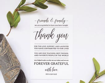 "Customizable Thank You Table Card 4""x6"" 