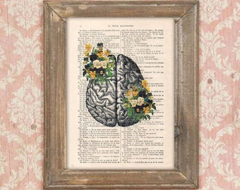 Anatomy Brain Flower Anatomy Print, Human Anatomy art science wall decor, art print drawing Vintage Book Dictionary Gothic  Get well soon