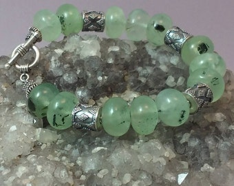 Green quartz and sterling bracelet with toggle clasp