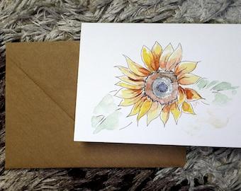 Sunflower watercolor blank card